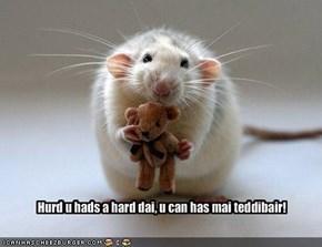 Hurd u hads a hard dai, u can has mai teddibair!