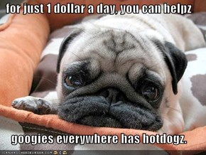 for just 1 dollar a day, you can helpz   googies everywhere has hotdogz.