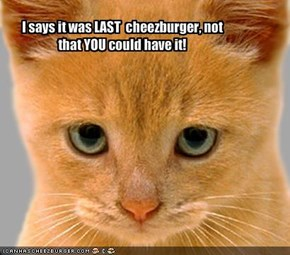 I says it was LAST  cheezburger, not that YOU could have it!