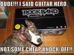 DUDE!!! I SAID GUITAR HERO,  NOT SOME CHEAP KNOCK-OFF!!