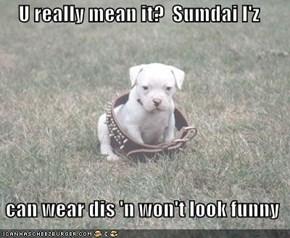 U really mean it?  Sumdai I'z    can wear dis 'n won't look funny