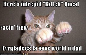 "Here's intrepid ""Kitteh"" Quest racin' frew  Evrgladees ta save world n dad"