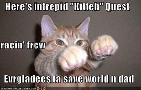 "Here's intrepid ""Kitteh"" Quest racin' frew  Evrgladees ta save world n dad"