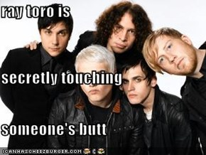 ray toro is secretly touching  someone's butt