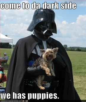 come to da dark side  we has puppies.