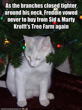 As the branches closed tighter around his neck, Freddie vowed never to buy from Sid & Marty Krofft's Tree Farm again