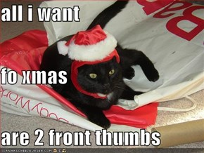 all i want fo xmas  are 2 front thumbs