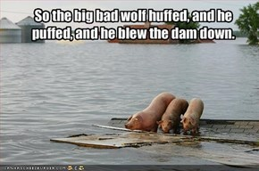 So the big bad wolf huffed, and he puffed, and he blew the dam down.