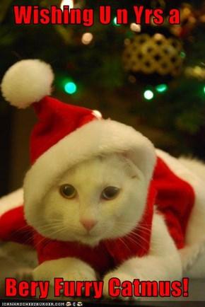 Wishing U n Yrs a   Bery Furry Catmus!