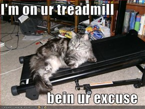 I'm on ur treadmill  bein ur excuse