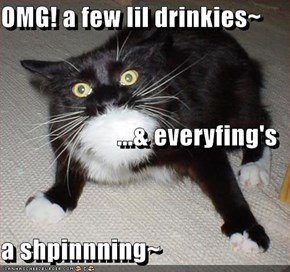 OMG! a few lil drinkies~ ...& everyfing's  a shpinnning~