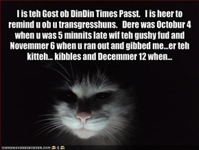 I is teh Gost ob DinDin Times Passt.   I is heer to remind u ob u transgresshuns.   Dere was Octobur 4 when u was 5 minnits late wif teh gushy fud and Novemmer 6 when u ran out and gibbed me...er teh kitteh... kibbles and Decemmer 12 when...