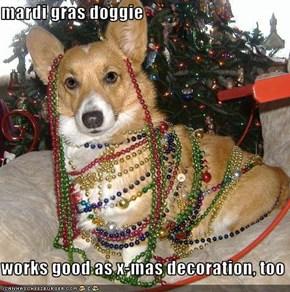 mardi gras doggie  works good as x-mas decoration, too