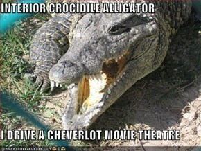 INTERIOR CROCIDILE ALLIGATOR  I DRIVE A CHEVERLOT MOVIE THEATRE