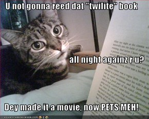 "U not gonna reed dat ""twilite"" book all night againz r u?  Dey made it a movie, now PETS MEH!"
