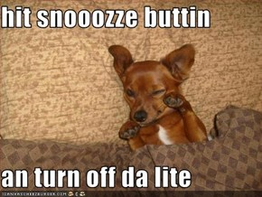 hit snooozze buttin  an turn off da lite