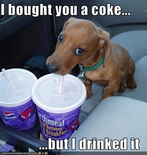 I bought you a coke...  ...but I drinked it
