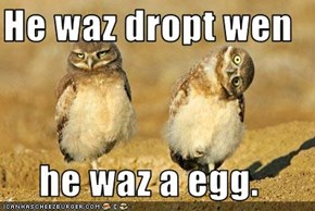 He waz dropt wen  he waz a egg.