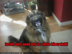 inside evry good boy is a little bit ov debil