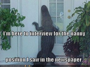 I'm here to interview for the nanny    position I saw in the newspaper.