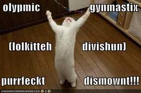 olypmic                       gynmastix (lolkitteh              divishun)    purrfeckt                  dismownt!!!