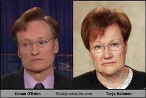 Conan O'Brien Totally Looks Like Tarja Halonen