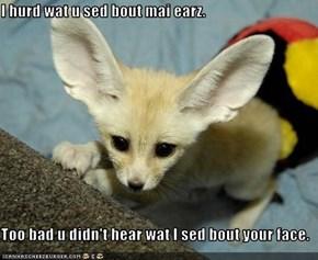I hurd wat u sed bout mai earz.  Too bad u didn't hear wat I sed bout your face.