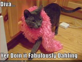 Diva...  Yer Doin it Fabulously Dahling