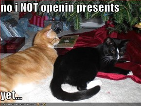 no i NOT openin presents  yet...