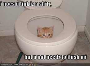 i noes u tink iz a sh*tz,   but u not needz to flush mi
