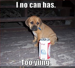 I no can has.  Too yung.