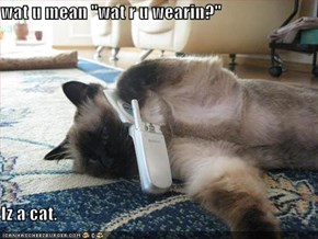 "wat u mean ""wat r u wearin?""  Iz a cat."