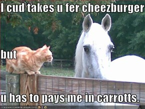 I cud takes u fer cheezburger but u has to pays me in carrotts.