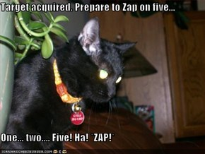 Target acquired. Prepare to Zap on five...  One... two.... Five! Ha! *ZAP!*