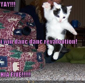 YAY!!! i win danc danc revalootion! HIA FIVE!!!!!