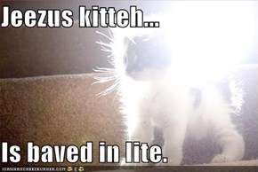 Jeezus kitteh...  Is baved in lite.