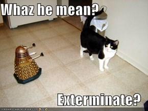 Whaz he mean?  Exterminate?