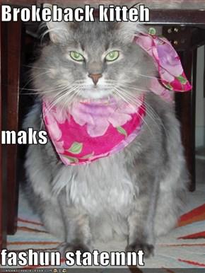 Brokeback kitteh maks fashun statemnt