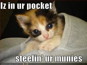 Iz in ur pocket  steelin' ur munies