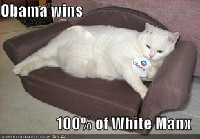Obama wins   100% of White Manx