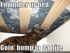 I'm under ur bed  Goin' bump in da nite