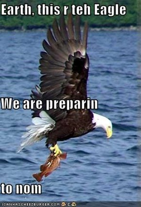 Earth, this r teh Eagle We are preparin to nom