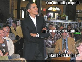 You actually expect me to have a detailed plan for 'change'?