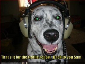 That's it for the traffic report...Back to you Sam