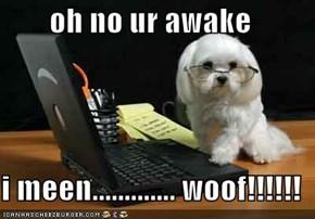 oh no ur awake  i meen............. woof!!!!!!