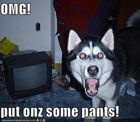 OMG!  put onz some pants!