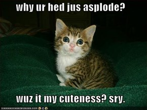 why ur hed jus asplode?  wuz it my cuteness? sry.