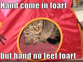 Hand come in foart  but hand no leef foart