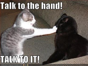 Talk to the hand!  TALK TO IT!