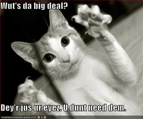 Wut's da big deal?  Dey'r jus ur eyez. U dunt need dem.